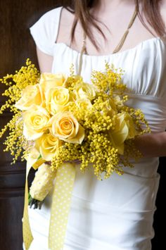 Yellow Mimosa and Roses