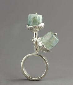 "Ring   Sarah Hood.  ""Acorn"".  Sterling silver and aquamarine (March birthstone)"