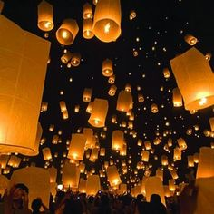 Paper lantern wedding send-off. Now that is cool.