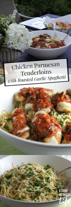 An easy family friendly meal, Chicken Parmesan Tenderloins served over Roasted Garlic Spaghetti features @Bertolli Tomato and Basil sauce and delicious homemade taste for your summer Tuscan table! #sp #VivaBertolli