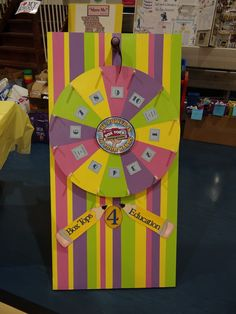 "Great game for Back to School night. Good reminder of what we collect! Each section of the wheel had a number that corresponded with a box that contained prizes that will be in our box tops store, along with ""I'm a sucker for box tops""(blow pops), and ""Box Tops makes me a smartie"" (smartie).  Everyone got to spin the wheel and get a prize."