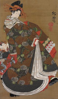 "Katsushika Hokuun's hanging scroll ""Courtesan Promenading Under Cherry Blossom,"" circa 1815-1819, shows an oiran performing her twisting steps with her wooden clogs, showing off the lush layers of her kimonos, her child attendants following her. (From the John C. Weber Collection, image © John Bigelow Taylor)"