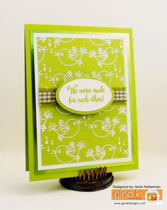 """The Gina K Designs products I used for this project are:  - """"You've Got a Friend"""" stamp set by Gina K. for Gina K Designs - Pure Luxury card stock in 80 lb Layering Weight White and Jelly Bean Green - Pure Luxury Color Companions ink in Jelly Bean Green - Pure Luxury Embossing Powder in Fine Detail White  - See more at: http://fettermandesigns.blogspot.com/#sthash.JM59VHDK.dpuf"""