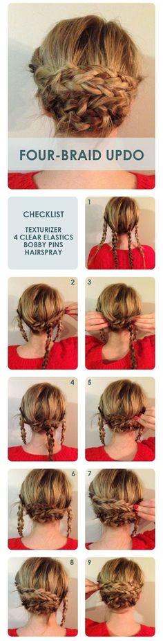 Four #Braid Bun Updo
