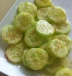 Cucumber Delite - Cucumber's increase your energy and boost your metabolism. The olive oil is a healthy fat and lemon juice helps detox and cleanse your blood of impurities. The cayenne pepper is a also a detox agent. It is a super food snack!
