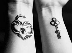 Matching Lock + Key Tattoos #couples #tattoo #wedding #idea. I