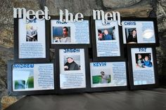 What a fabulous idea! Meet the Men and Meet the Maids photos...such a great way for guests to learn a bit about the wedding party if they aren't familiar with them!