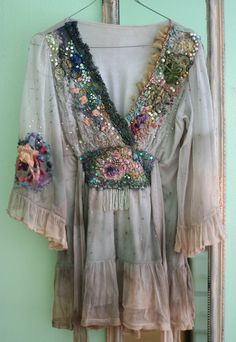 Fairytale --romantic floaty delicate blouse or tunic, hand embroidered and beaded, with  antique laces