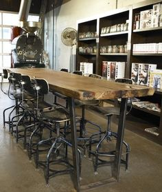 Firehouse bar table vintage industrial furniture - Steel Frame Bar Tables Bars Tables Amp Counters Pinterest Steel