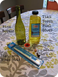 Tiki Torch Wine Bottle... Use river rocks or floral stones in bottom of the wine bottle to use less fuel