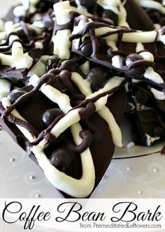 Coffee Bean Bark Recipe -- Chocolate covered coffee beans and just three other ingredients make this super easy and great for gift-giving during the holidays