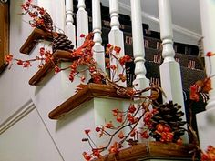 nice idea for a fall staircase ..... include small pumpkins or pilgrims for Thanksgiving......lets bring back Thanksgiving !!!!!