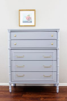 gray painted faux bamboo dresser with brass pulls