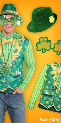 Out dress all the Irishmen out there this St. Patrick's Day with help from Party City! Don a dapper ensemble with shamrockin' shades, green shirt or vest. Top it off with a green fedora and you'll be ready for that first pint of beer. Slainte to that!