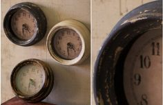 French Flea Market Distressed Clock Trio - Decor Steals~Enjoy Today's Steal from DECOR STEALS
