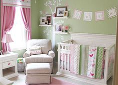 Soft Pink and Mint Green Nursery Decor for a Baby Girl in a Bird Theme: Designer, Kara Huycke of Izzy Designs, has some lovely pink and green baby bird nursery theme ideas for you with a bonus; FREE printable nursery art