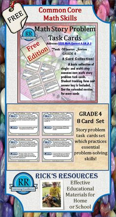http://www.teacherspayteachers.com/Product/Common-Core-Math-Story-Problem-Task-Cards-8-Cards-Grade-4--742170 A free set of 8 math story-problem task cards.  Great for whole or small group activities.  Reinforces common core concepts.