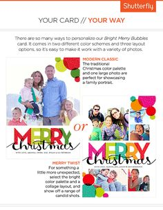 Many ways to personalize the Bright Merry Bubbles #Holiday Cards. We also have versions that say Happy Holidays. #Christmas #Cards