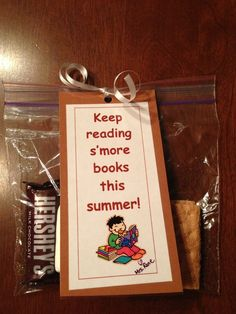 My end of the year student gift.A bookmark with s'more makings to give students with a
