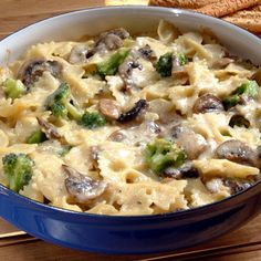 This delicious Bow Ties and Broccoli Mushroom Alfredo pasta dish makes ...