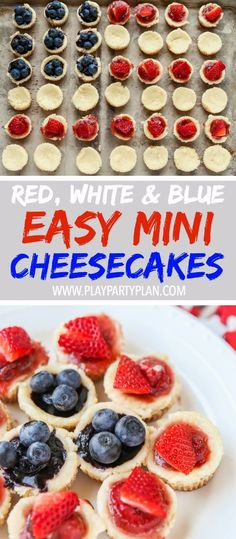 This red, white, and blue mini cheesecake recipe is the perfect 4th of ...
