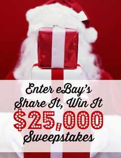 $1,000 weekly prizes and a $25K grand prize!    How To Enter:  1. Click through the pin.  2. Share any of my eBay Holiday Gift Guide collections on Faceobok, Twitter or Pinterest  3. Every share is an entry - official rules here: https://projects.promotw.com/rules/ebay_shareitwinit_sweepstakes.html  4. Good luck and have fun!  #FindItFollowIt #Sponsored