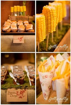 Corn on the Cob on Sticks, Fries in cones, great idea for small gatherings!