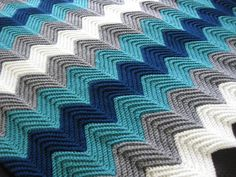 Crochet Blanket: Love the color combination. Instead of dark blue stripe, pink for a girl.