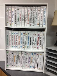 She stores all the papers for each unit/theme in binders.  So smart.  I keep cramming stuff into bursting filing cabinets.