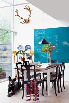 Love the teal chalkboard!!