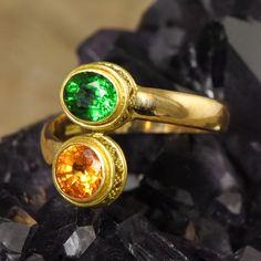Solid 22K GOLD RING 0.84 ct TSAVORITE & 1.07 ct SPESSARTITE Gemstone US size 7