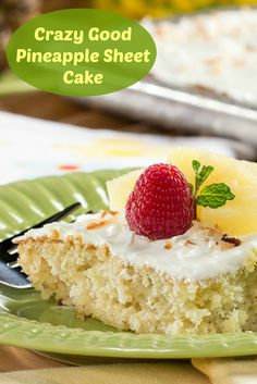 Toasted coconut is delicious on top of this super easy tropical cake!