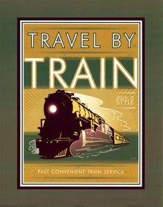 Vintage trains planes and for Vintage train posters