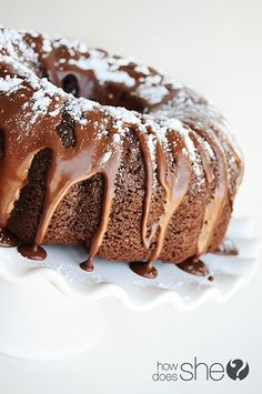 Triple Chocolate Bundt Cake. One of THE BEST chocolate cakes I have ever tasted! {All because of one secret ingredient...and all the chocolate, of course!}