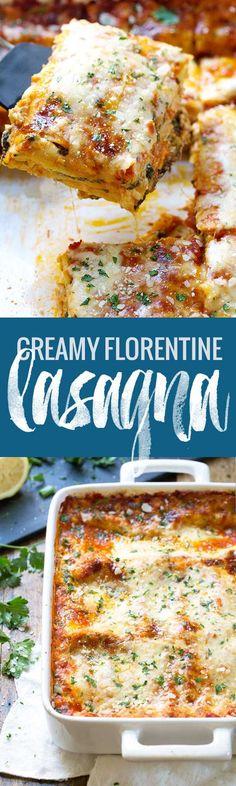 Creamy Tomato Lasagna Florentine - simple vegetarian comfort food at its best. 330 calories. | pinchofyum.com