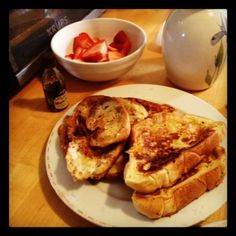 Challah french toast with strawberries!