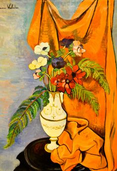 ❀ Blooming Brushwork ❀ - garden and still life flower paintings - Suzanne Valadon - Bouquet of Flowers in an Empire Vase, 1920