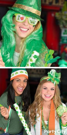 Shamrock out in all shades of the Emerald Isle this St. Patrick's Day! Dress up for that party, Irish parade, or bar crawl with green beads, pins, wigs, sunglasses and festive bows or hats.