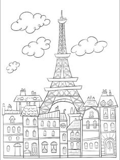 Coloring page Eiffel Tower for Maddie and then take a picture for one of your books!
