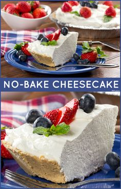 Our No-Bake Cheesecake is a favorite in the summertime. We love to top it off with fresh berries!