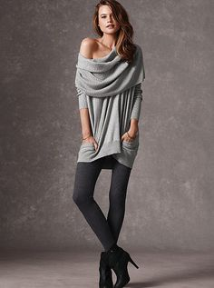 Tunic sweater that can be worn 4 ways: on the shoulder, off the shoulder, hooded or cowlneck.