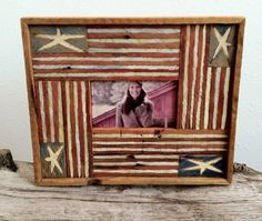 hand painted  wood  lath Americana picture frame on Etsy, $30.00