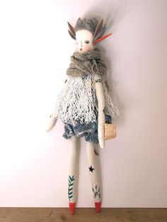 Jess Quinn - Tattoo Folk doll hand crafted art doll hand