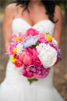 vibrant and colorful wedding bouquet