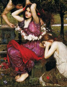 'Flora and the Zephyrs' (detail) by John Waterhouse  1897 by Plum leaves, via Flickr