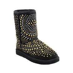 Jimmy Choo Ugg Black Silver And Gold Grommet Studded Boots