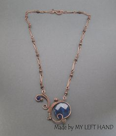 Copper Necklace Candy Jade Wire Wrapped Copper by MadeByMyLeftHand