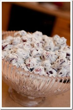 Grape salad *Warning* If you take this to a potluck, you will never bring any home! top with crushed Butterfingers.