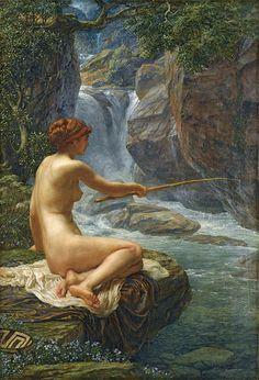 "Sir Edward John Poynter, ""Fishing, the nymph of the stream"""