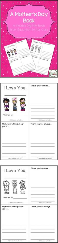 FREE Mother's Day DIY Book for students to take home for mom, aunt, or grandma!